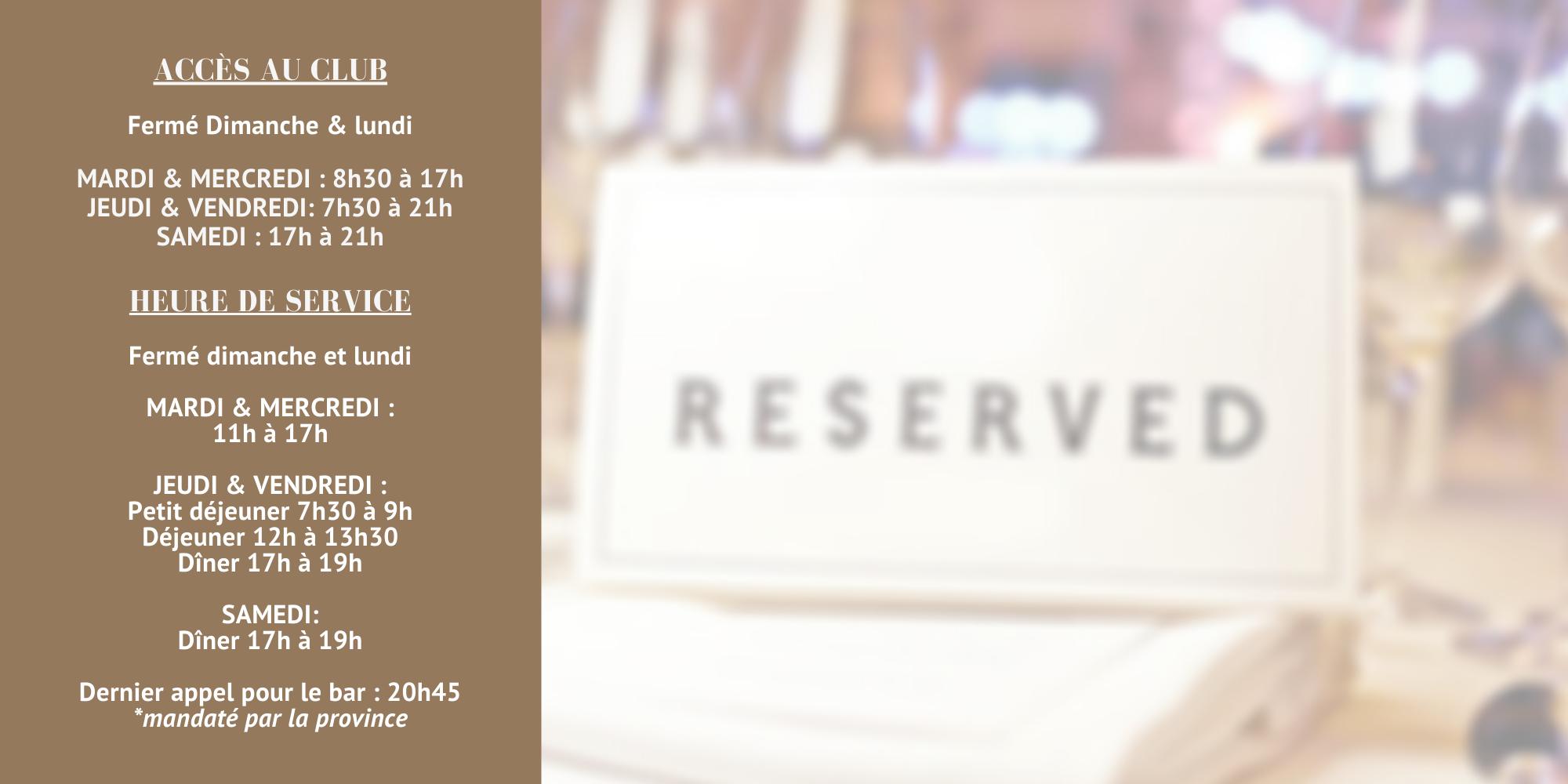 Événement au programme : Le Rideau Club est ouvert!